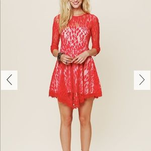 Free People Floral Red Dress Size 0